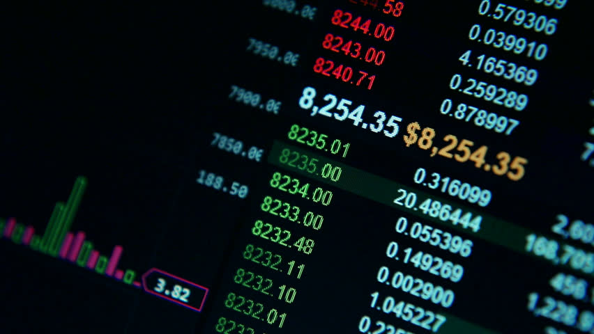 Stock Market Business Index Orders Price on Visual Computer Screen Alpha Channel
