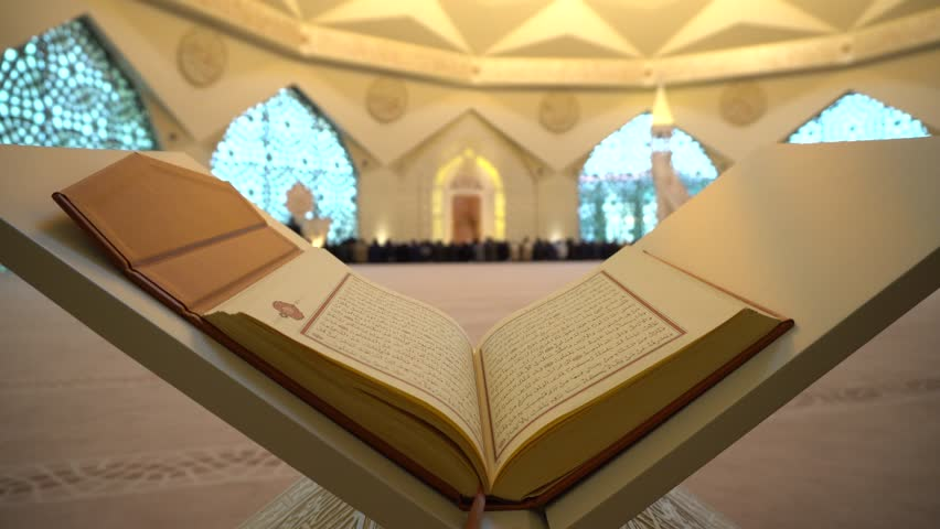 3- Koran or Quran - holy book and noon prayer in congregation male Muslims sacred Mosque with Sound  ISTANBUL, TURKEY - MARCH 2018 | Shutterstock HD Video #1009711103