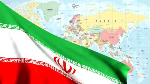 The waving flag of Iran opens up the view to the position of Iran on a colored world map