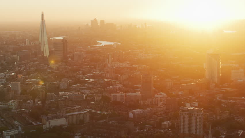 Aerial sunrise view from urban park Lambeth and Waterloo Train Station to London city financial district England UK RED WEAPON   Shutterstock HD Video #1009771613