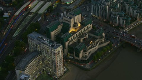 London UK - November 2017: Aerial view at sunset MI6 foreign intelligence agency St George Wharf Vauxhall Bridge River Thames London England UK RED WEAPON