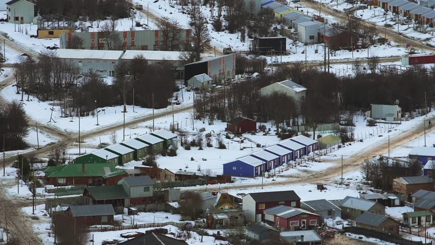 Houses in Ushuaia, Capital of Tierra del Fuego province, in Argentina. High Angle View. Zoom In. #1009805333