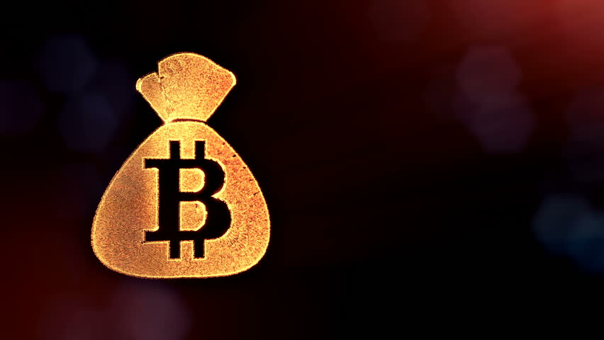 bitcoin logo on the bag. Financial concept. Financial background made of glow particles as vitrtual hologram. Shiny 3D loop animation with depth of field, bokeh and copy space. Dark version 3