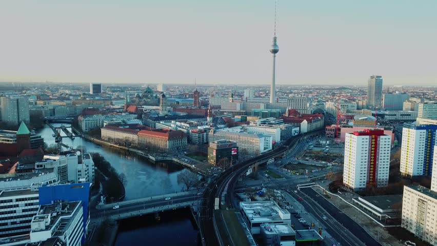 Berlin, Germany. Aerial shot of TV Tower on Alexanderplatz  | Shutterstock HD Video #1009807403