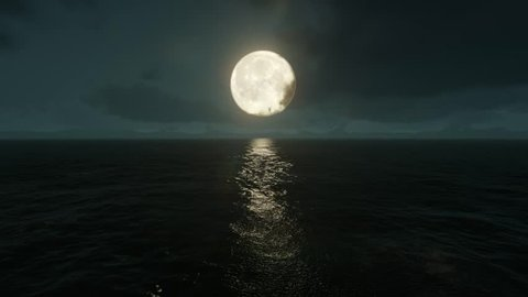 Moonlight path with low moon above sea. Full moon above water with clouds. 3d rendering.
