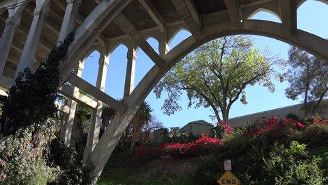 Beautiful gardens under the Shakespeare Bridge in Los Angeles