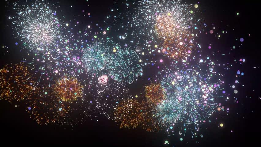 Colorful fireworks on black background 4K   Shutterstock HD Video #1009815413