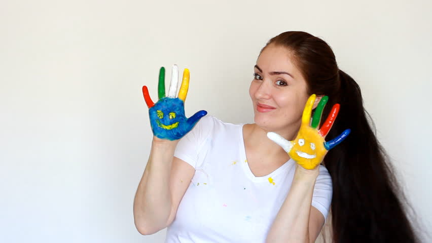 Dirty clothes and dirty hands of the artist Girl. Smile.Painting, art, creative | Shutterstock HD Video #1009823873