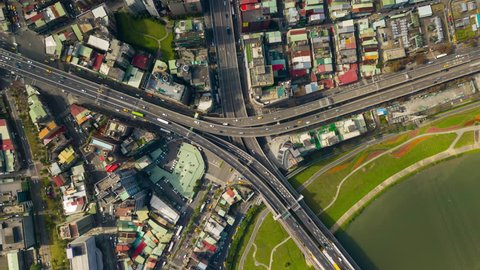 sunny day taipei river traffic road junction bridge aerial down view 4k timelapse taiwan