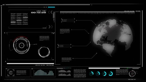 4K UI User Interface with HUD pi bar text box table black background for cyber technology and futuristic concept with grain processed