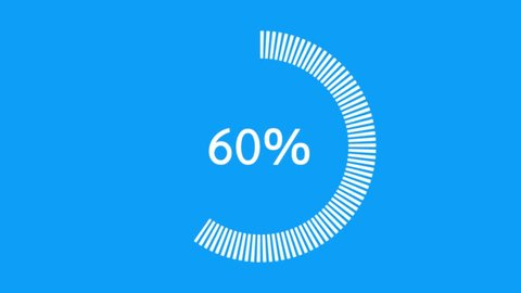 Circle percentage from 0-100, 75, 50 and 25, Color white on a blue background
