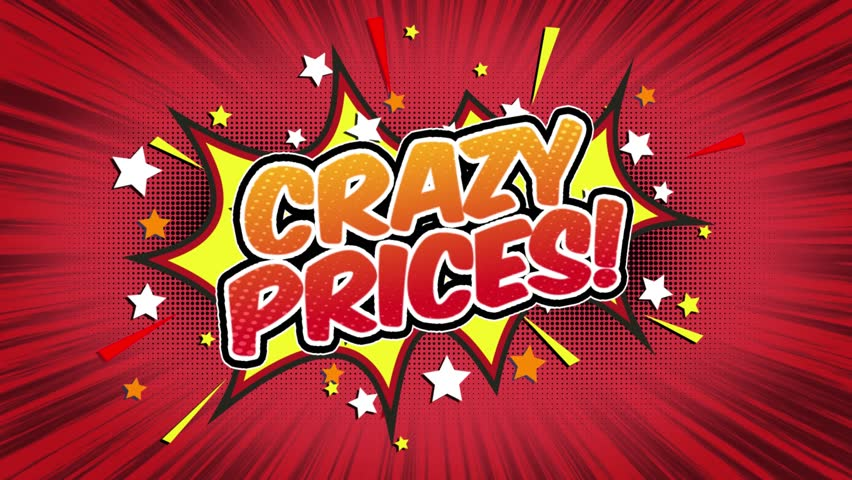 Crazy Prices! Word Retro Cartoon Comic Bubbles Popup Style Expressions Colored Bomb and Smoke Strip Dotted and red Speed Radial line Seamless loop Animation black / green screen 4k doodle background.