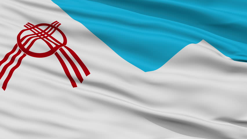 Osh closeup flag, city of Kyrgyzstan, realistic animation seamless loop - 10 seconds long