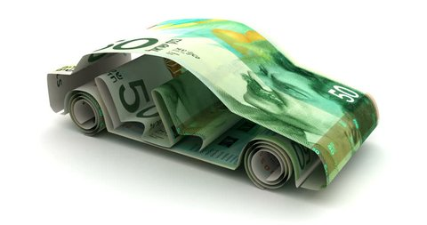 Car Finance with Israeli New Shekel 3D rendering