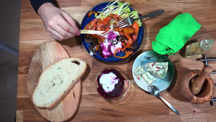 Top view prepare serving plate with shrimps ane beet salad and moldy cheese. & Top View Prepare Serving Plate With Shrimps Ane Beet Salad And ...