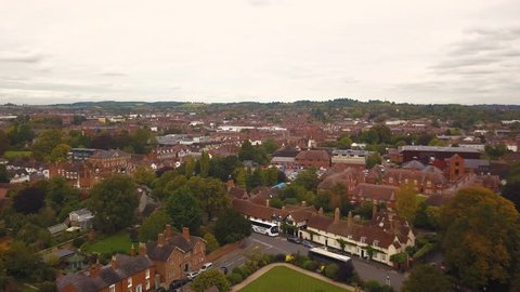 Aerial drone footage of Stratford Upon Avon, the birth place and burial site of William Shakespeare.