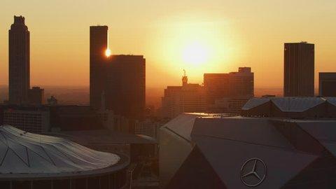 Atlanta - November 2017: Aerial dawn sunrise view of the retractable roof Mercedes Benz Stadium home to Atlanta Falcons National Football League Georgia America