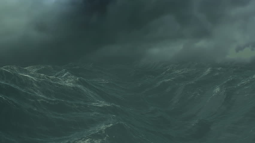 Stormy Ocean with dark cloudy sky and fog, digital animation | Shutterstock HD Video #1009920983
