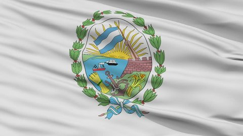 Rosario closeup flag, city of Argentina, realistic animation seamless loop - 10 seconds long