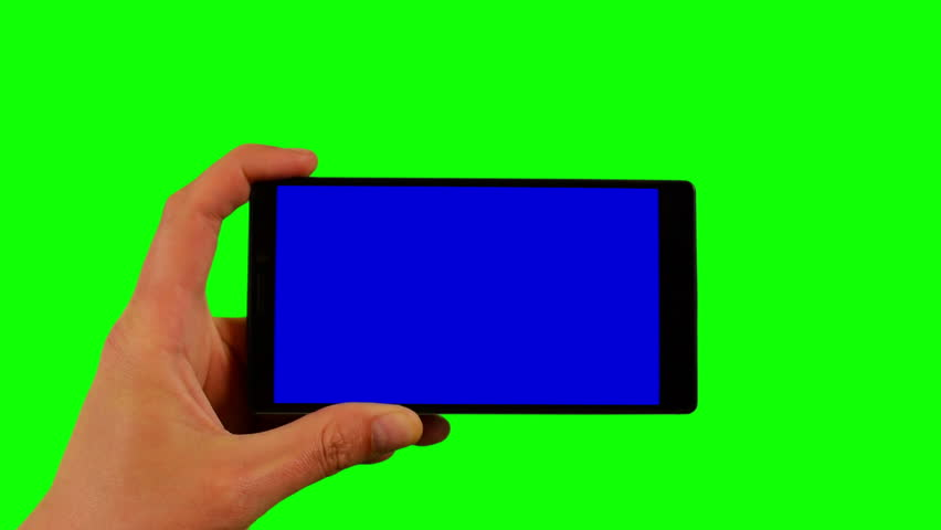 Phone in the hand closeup isolated at green background. Phone screen is blue chroma key, background chroma key green screen. Footage for mobile ads, app promo. FullHD 16:9 horizontal smartphone screen