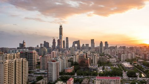 Time Lapse of Beijing Skyline at sunset,Beijing,China.
