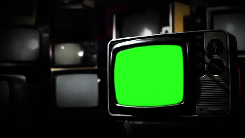 Vintage 80s Tv with Green Screen. Clean Straight Tone. Zoom Out. Ready to replace green screen with any footage or picture you want.  | Shutterstock HD Video #1009948343