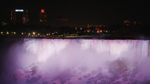Incredible Niagara Falls with evening illumination