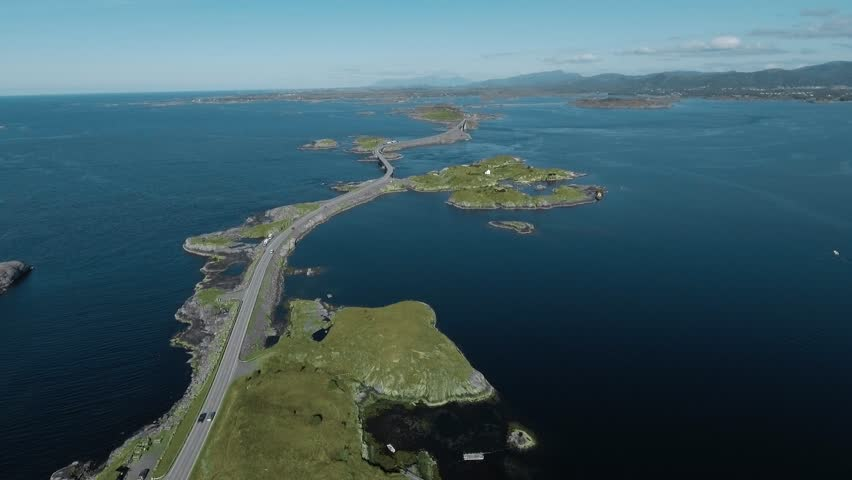 """Aerial view of Atlantic Road (Atlanterhavsveien) also known as """"The Road in the Ocean"""" in Norway. National Tourist Route."""