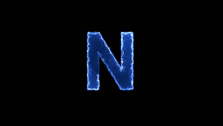Blue lights form luminous latin letter N. Appear, then disappear. Electric style. Alpha channel Premultiplied - Matted with color black