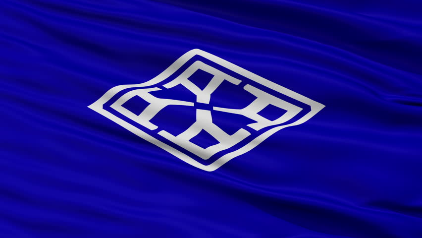 Yamatokoriyama close up flag, Nara prefecture, realistic animation seamless loop - 10 seconds long