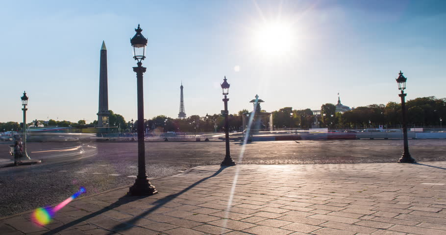 PARIS, FRANCE – SEPTEMBER 2016 : Timelapse of central Paris traffic on a beautiful day with Eiffel Tower in view | Shutterstock HD Video #1009990703