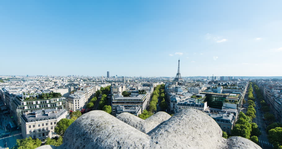 PARIS, FRANCE – SEPTEMBER 2016 : Timelapse over central Paris on a beautiful day with Eiffel Tower and cityscape in view | Shutterstock HD Video #1009990793