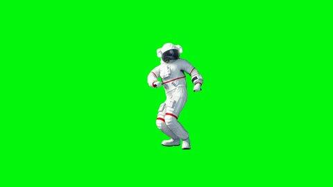 Funny astronaut dancing . Green screen. Realistic 4k animation.