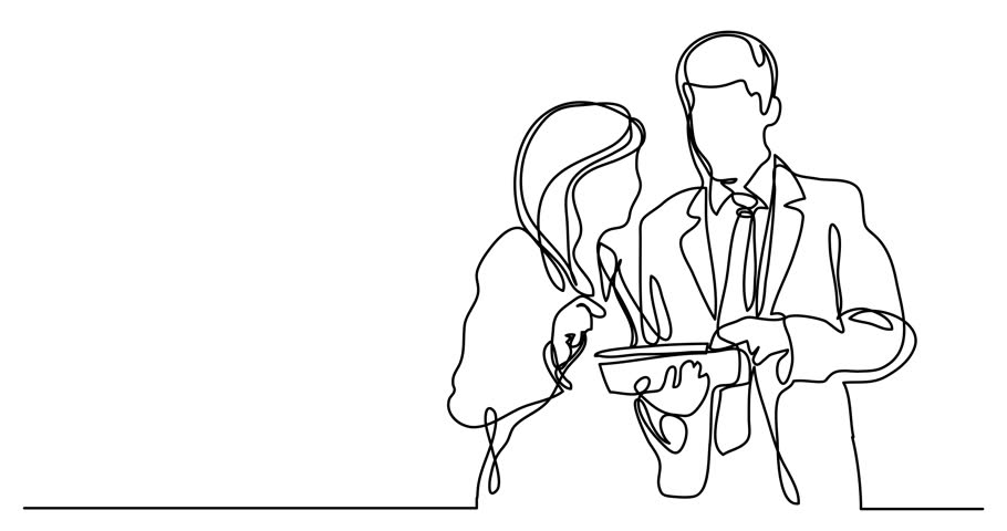 Self drawing animation of continuous line drawing of cowokers discussing | Shutterstock HD Video #1010061803