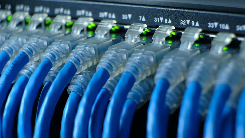 Network cable connecting on Network gigabit switch and LED port status is blink. UTP port cat6 for high speed network in data server room. close up and selective focus | Shutterstock HD Video #1010104403