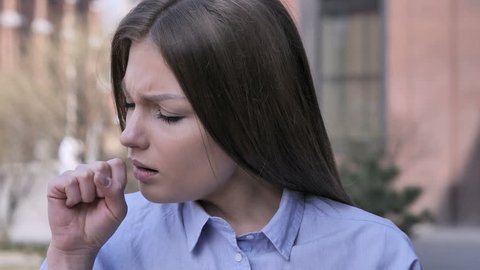 Cough, Portrait of Sick Woman Coughing at Work