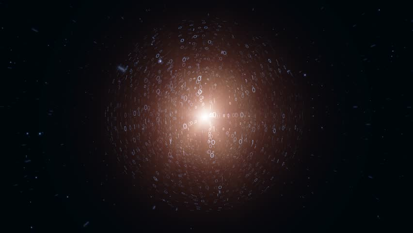 Binary number sphere rotation with stars. | Shutterstock HD Video #1010118833