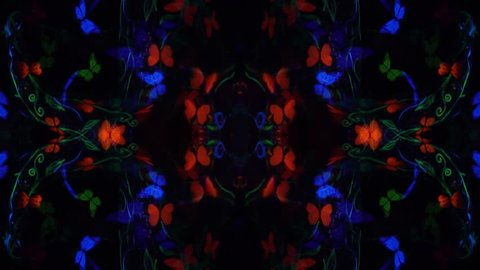 Kaleidoscope video of a girl in luminescent body art with butterflies that poses in the dark