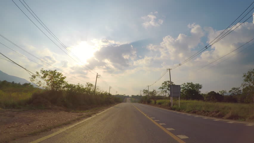Front Driving Plate : Driving On Route 3052 To Khao Yai National Park , Nakhon Ratchasima , Thailand