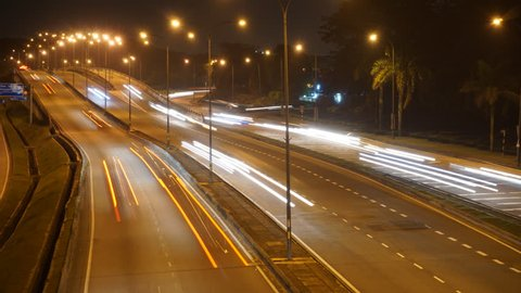 Time Lapse of Traffic on Highway in Johor Bahru at Night
