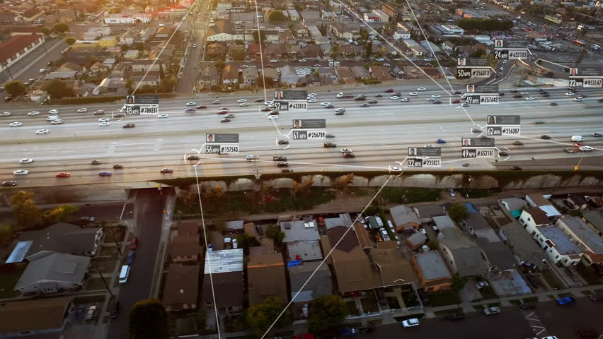 Connected driverless or autonomous car aerial view. Blurred and fake driver and car information displaying. Lore ipsum texts. Future transportation. Internet of things. Artificial intelligence.  #1010301533