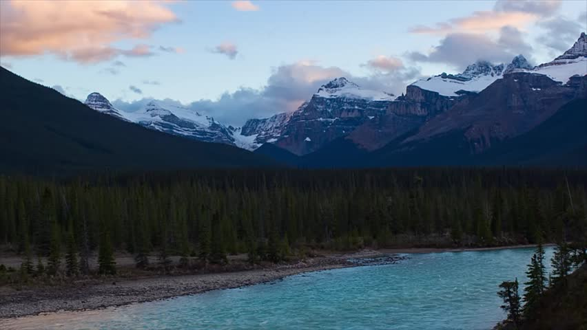 Mountain river view from Icefields hwy after sunset, Alberta, Canada