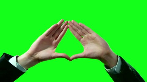 Pyramid Triangle Symbol Formed by Business Man Hands in Suit on Green Screen 4k Video Set.