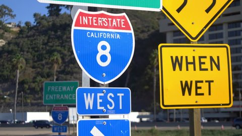 Professional video of interstate 8 overhead freeway sign in 4k slow motion 60fps