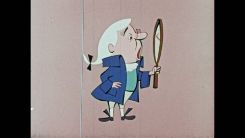 1950s: Cartoon man looks in mirror and opens and closes mouth. Cartoon man speaks.