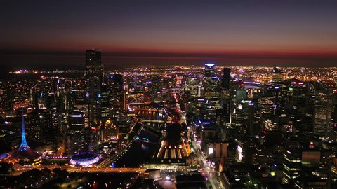 Aerial video of downtown Melbourne at night.