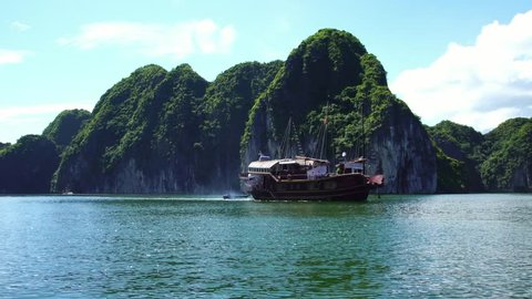 Tourist Cruise ship Boat in Lagoon Halong Bay, Cat Ba island Vietnam