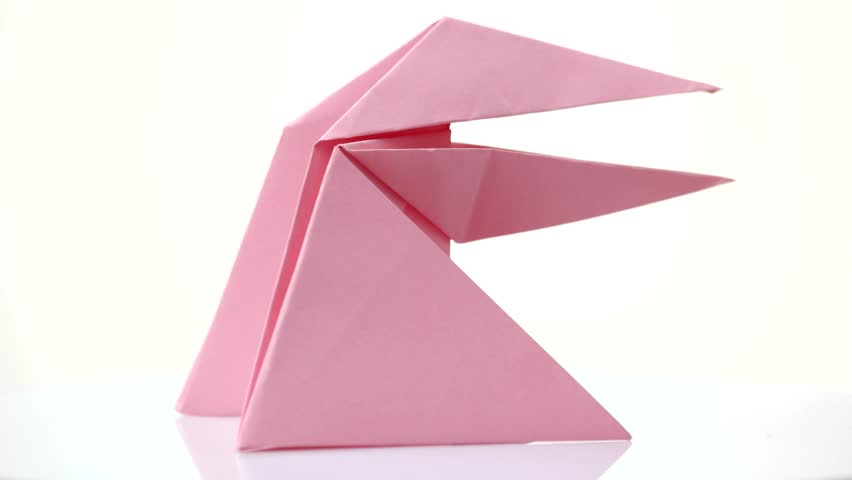 Man Folding Pink Origami Frog Stock Footage Video 100 Royalty
