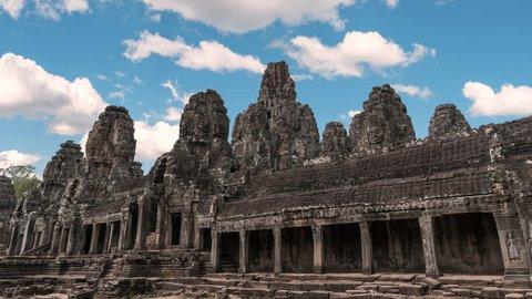 Bayon Temple timelapse, Siem Reap, Cambodia 4K Time lapse