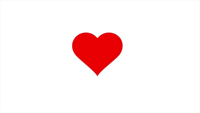 Red beating Heart. Animation loop on white, can be used for Valentines or Mothers Day or Health care concept.